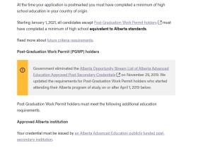 AINP宣布取消加拿大阿省机遇类别省提名职业限制