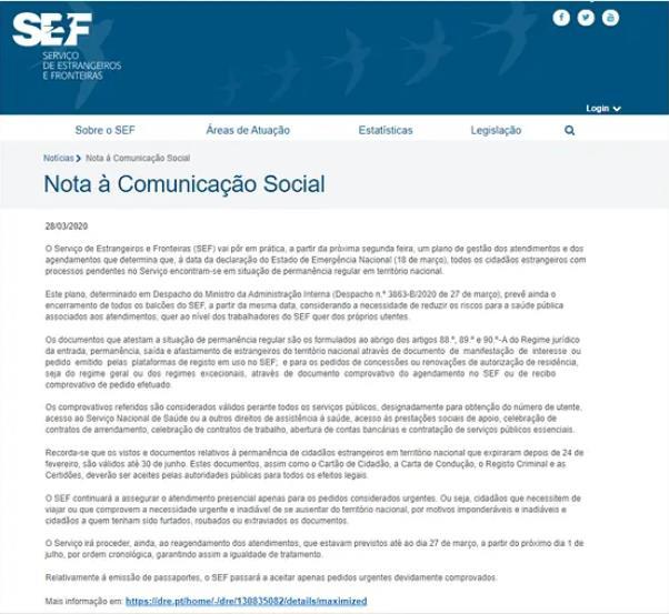 受新冠疫情影响葡萄牙移民局办公室将关闭至7月1日