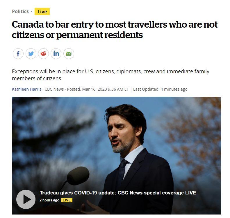 加拿大边境政策放宽:公民或永久居民的直系亲属可以入境