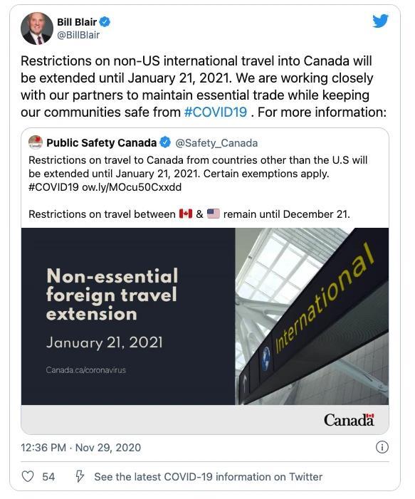 加拿大对美加边境外的国际旅行限制延长至2021年!